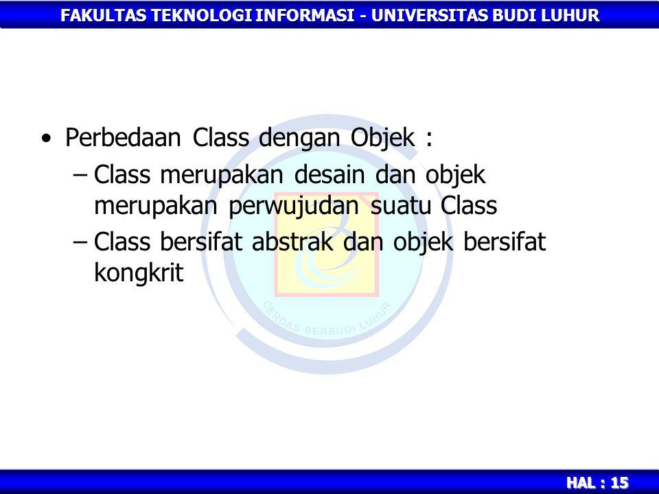 Perbedaan Class dengan Objek :
