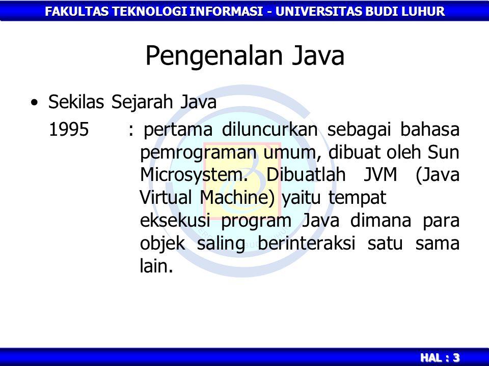 Pengenalan Java Sekilas Sejarah Java