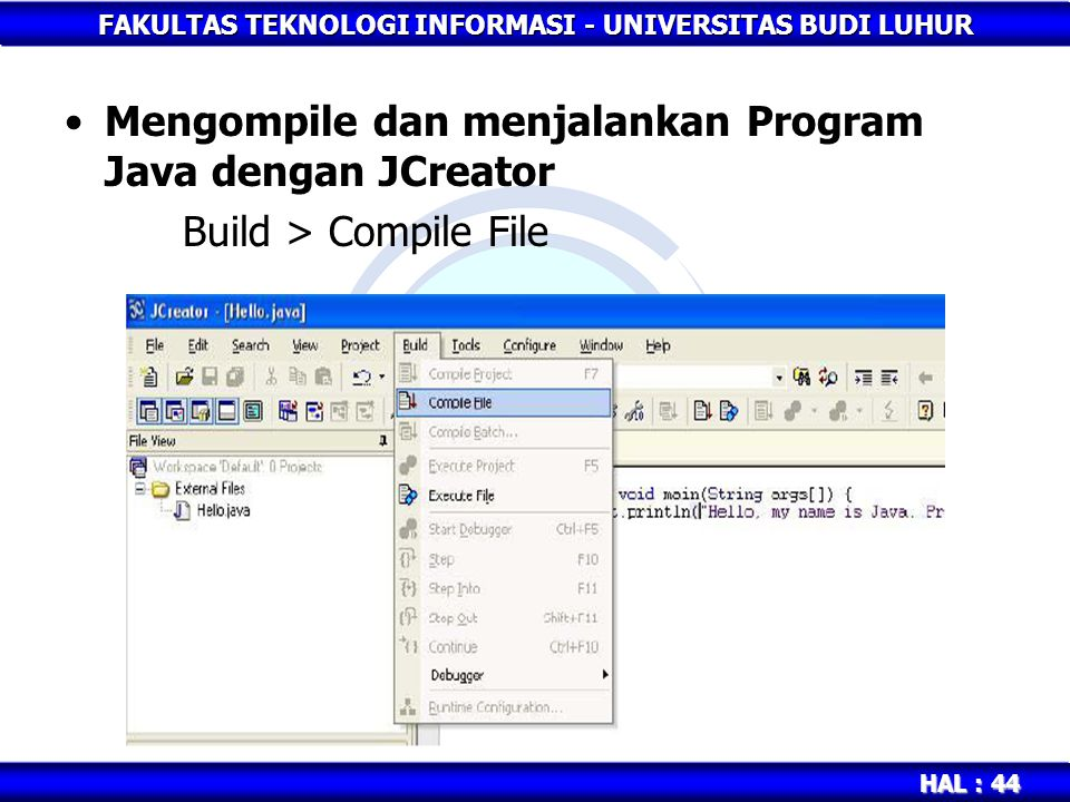 Mengompile dan menjalankan Program Java dengan JCreator