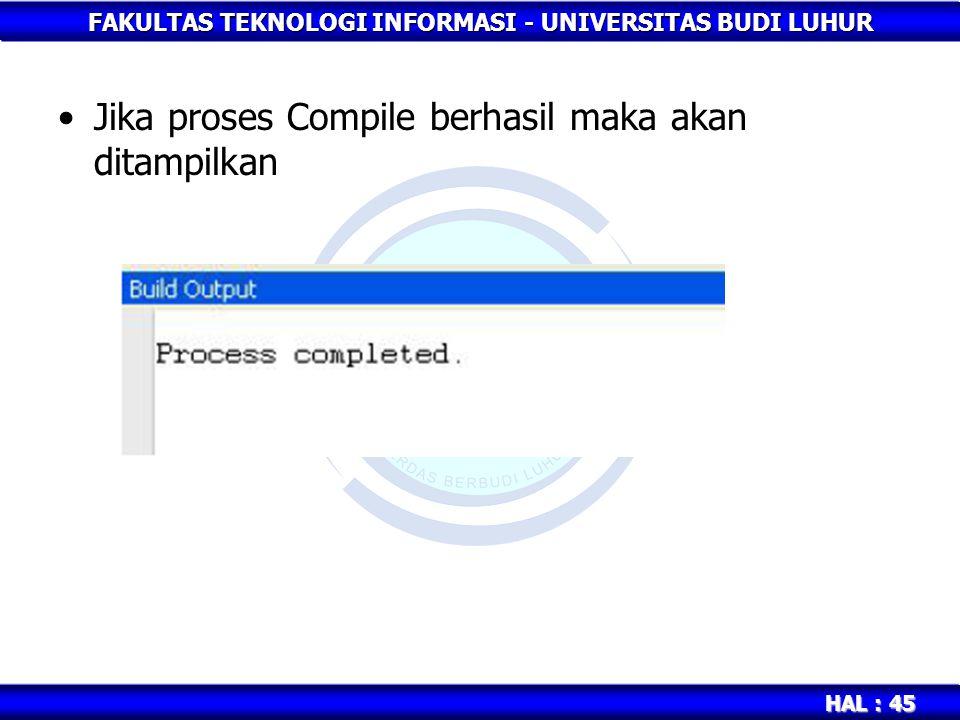Jika proses Compile berhasil maka akan ditampilkan