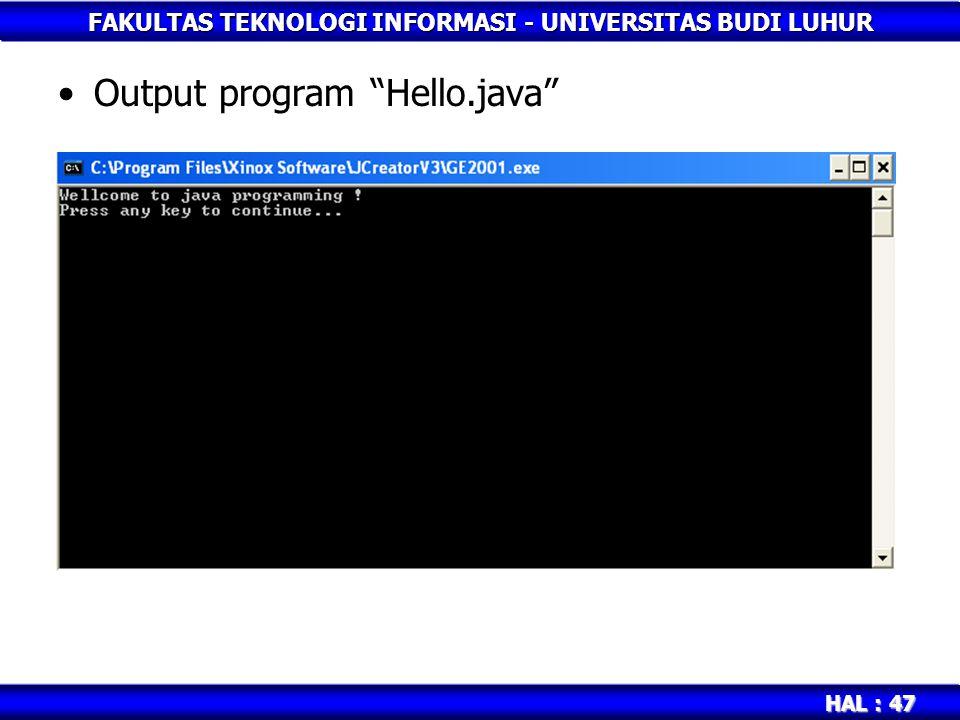 Output program Hello.java