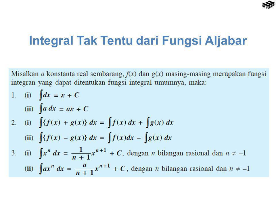 Integral Tak Tentu dari Fungsi Aljabar