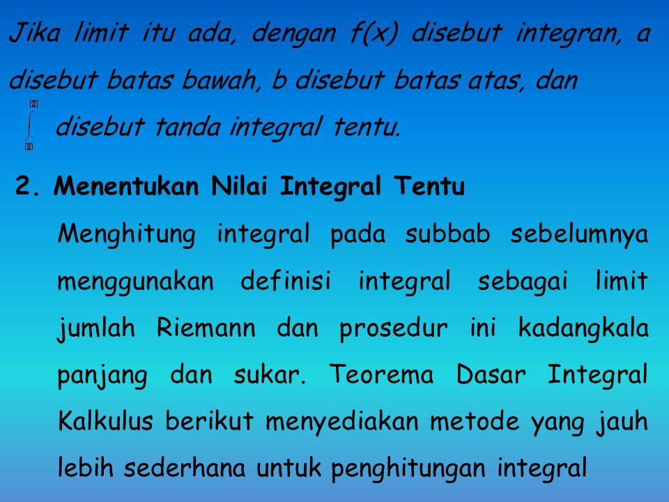 Jika limit itu ada, dengan f(x) disebut integran, a disebut batas bawah, b disebut batas atas, dan