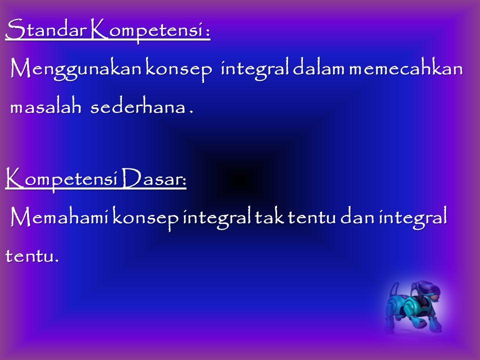 Standar Kompetensi : Menggunakan konsep integral dalam memecahkan. masalah sederhana . Kompetensi Dasar: