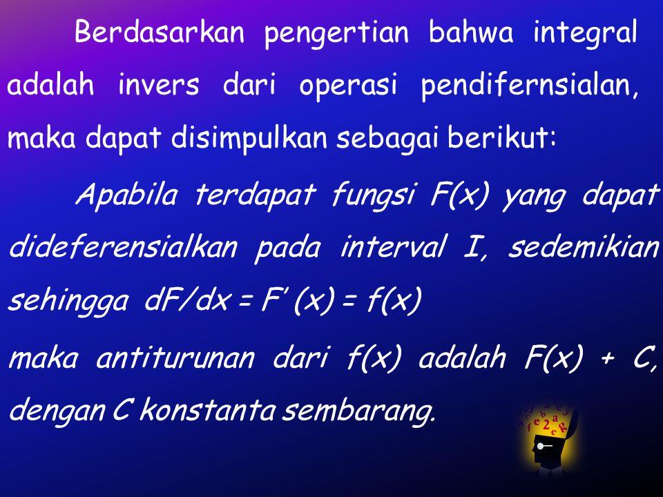 Berdasarkan pengertian bahwa integral adalah invers dari operasi pendifernsialan, maka dapat disimpulkan sebagai berikut: