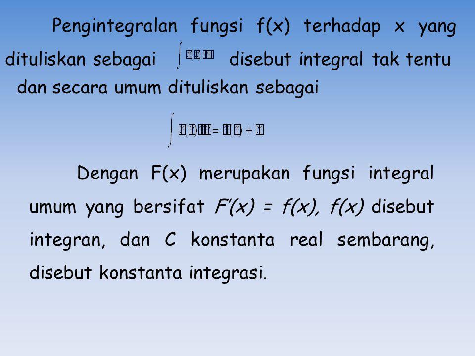 Pengintegralan fungsi f(x) terhadap x yang dituliskan sebagai disebut integral tak tentu