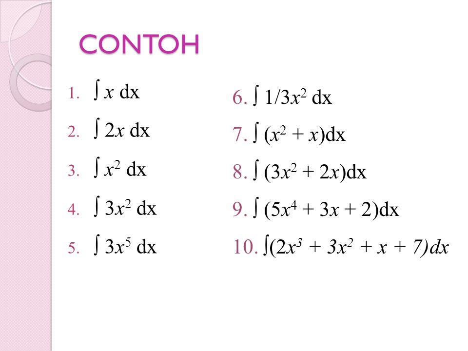 CONTOH ∫ x dx 6. ∫ 1/3x2 dx ∫ 2x dx 7. ∫ (x2 + x)dx ∫ x2 dx