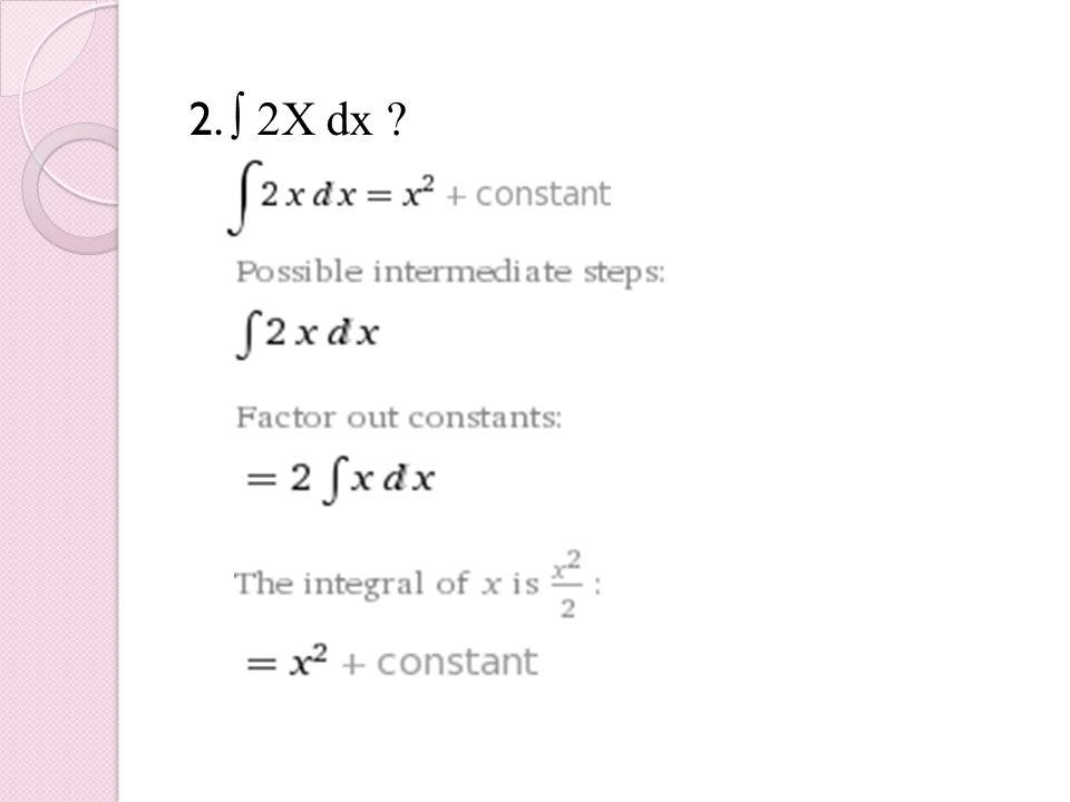 2. ∫ 2X dx