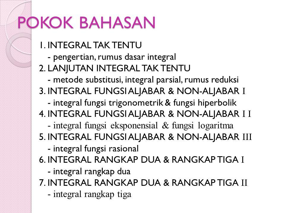 POKOK BAHASAN 1. INTEGRAL TAK TENTU - pengertian, rumus dasar integral