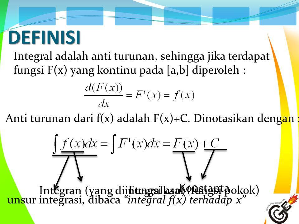 DEFINISI Integral adalah anti turunan, sehingga jika terdapat