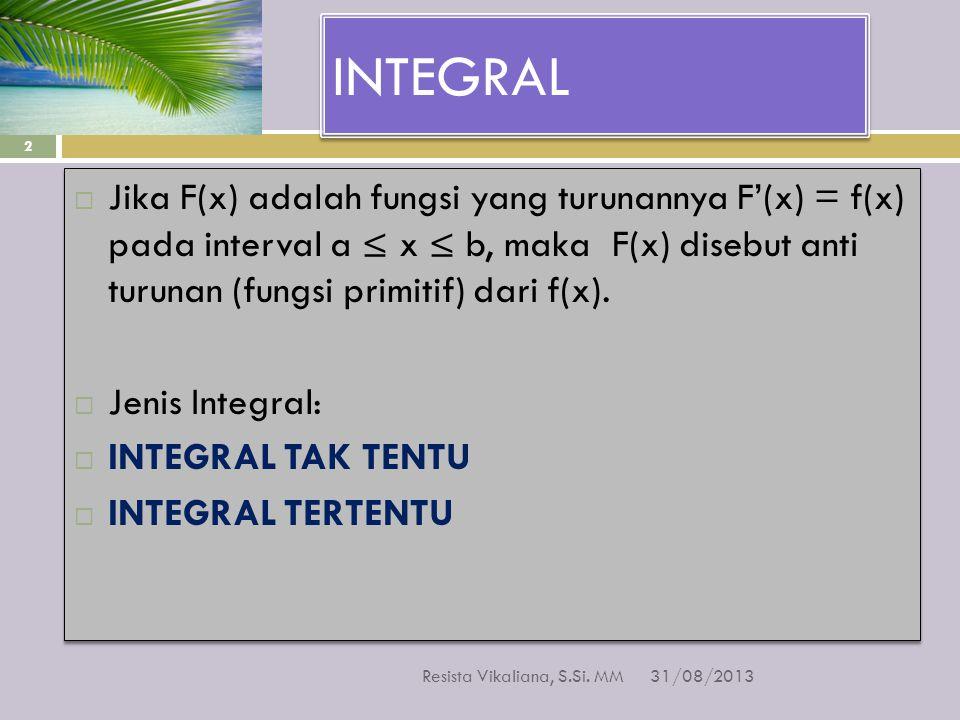 INTEGRAL Jika F(x) adalah fungsi yang turunannya F'(x) = f(x) pada interval a ≤ x ≤ b, maka F(x) disebut anti turunan (fungsi primitif) dari f(x).