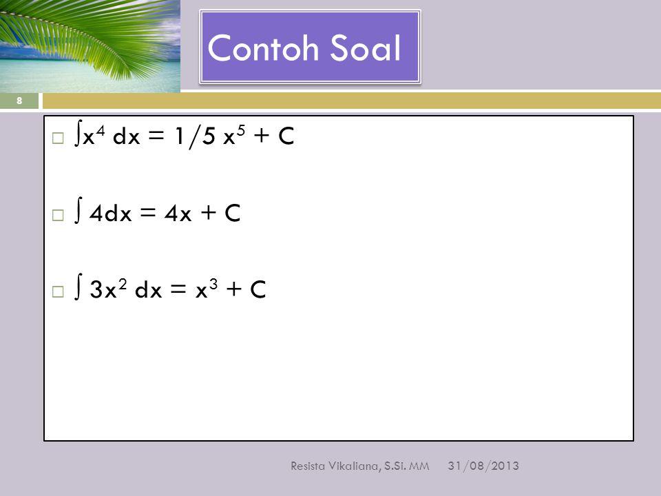 Contoh Soal ∫x4 dx = 1/5 x5 + C ∫ 4dx = 4x + C ∫ 3x2 dx = x3 + C