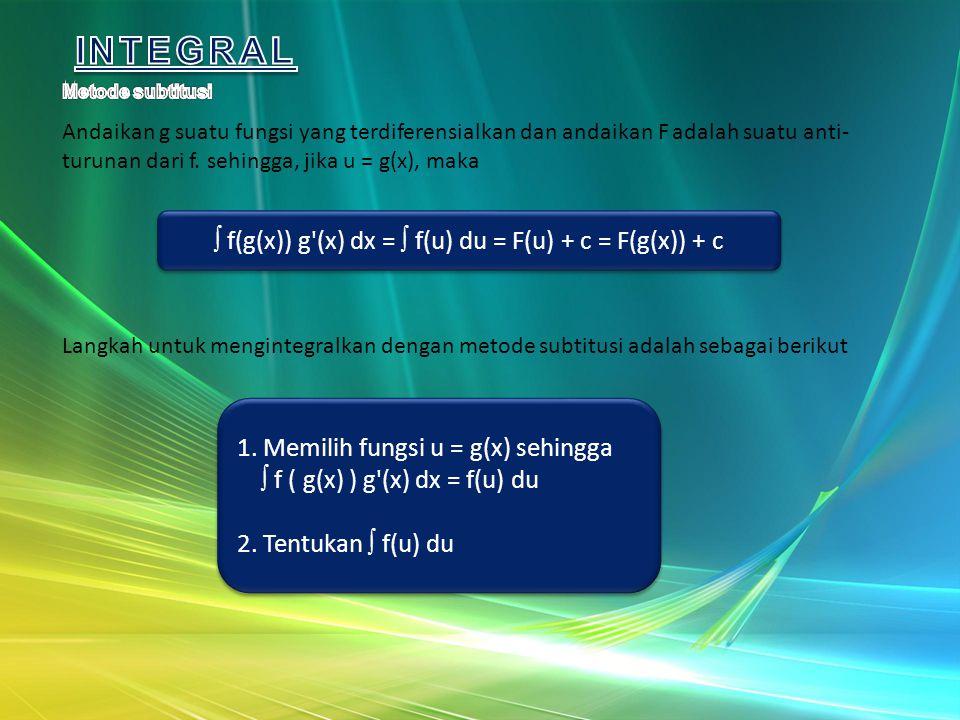 f(g(x)) g (x) dx =  f(u) du = F(u) + c = F(g(x)) + c