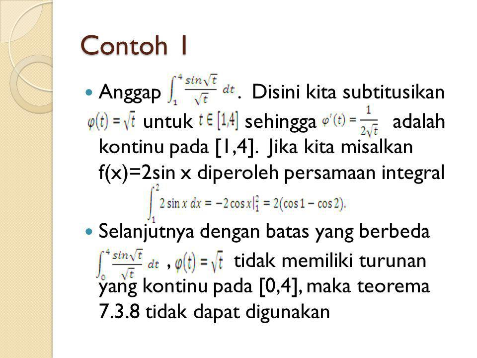 Contoh 1 Anggap . Disini kita subtitusikan