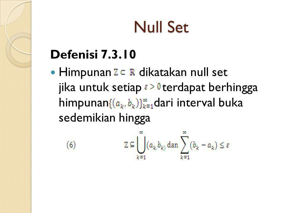 Null Set Defenisi 7.3.10.
