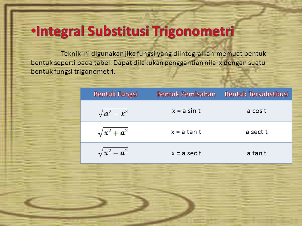 Integral Substitusi Trigonometri