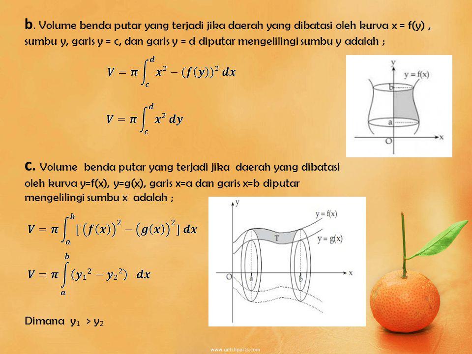 b. Volume benda putar yang terjadi jika daerah yang dibatasi oleh kurva x = f(y) , sumbu y, garis y = c, dan garis y = d diputar mengelilingi sumbu y adalah ;