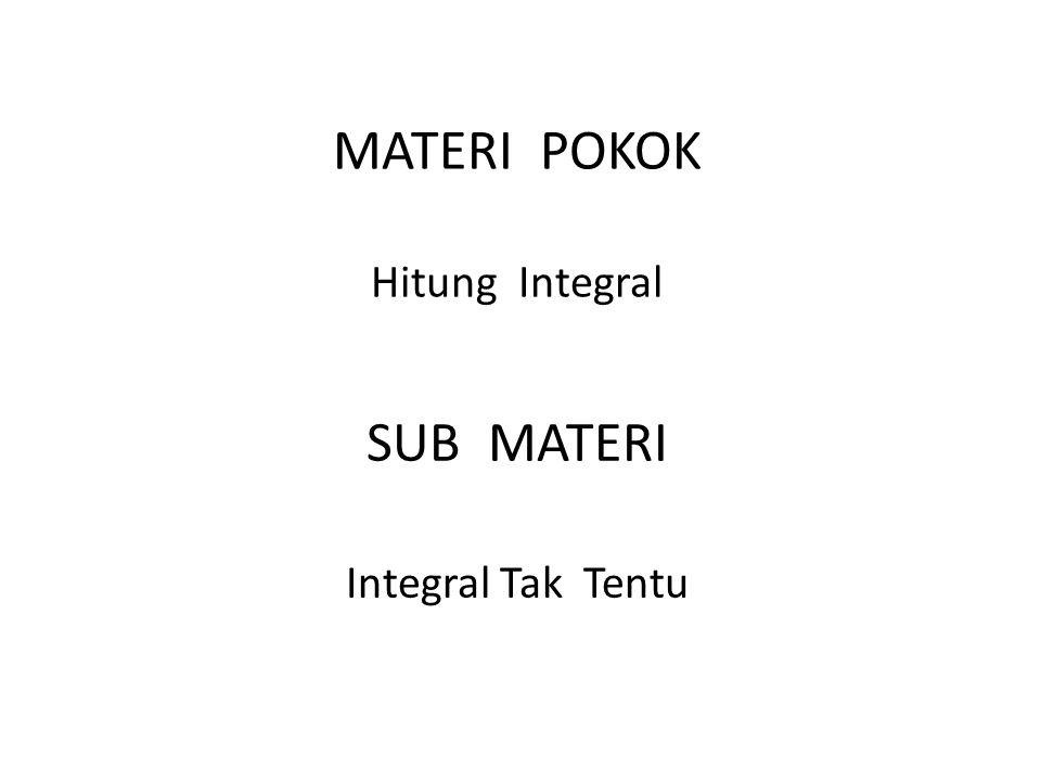 MATERI POKOK Hitung Integral