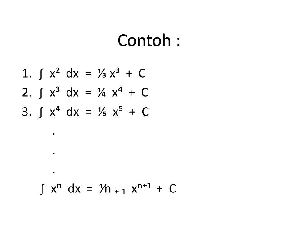 Contoh : ∫ x² dx = ⅓ x³ + C ∫ x³ dx = ¼ x⁴ + C ∫ x⁴ dx = ⅕ x⁵ + C .