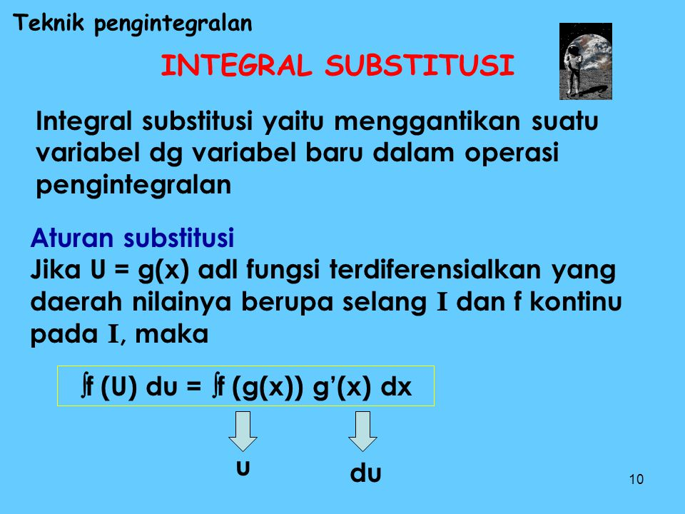 f (U) du = f (g(x)) g'(x) dx