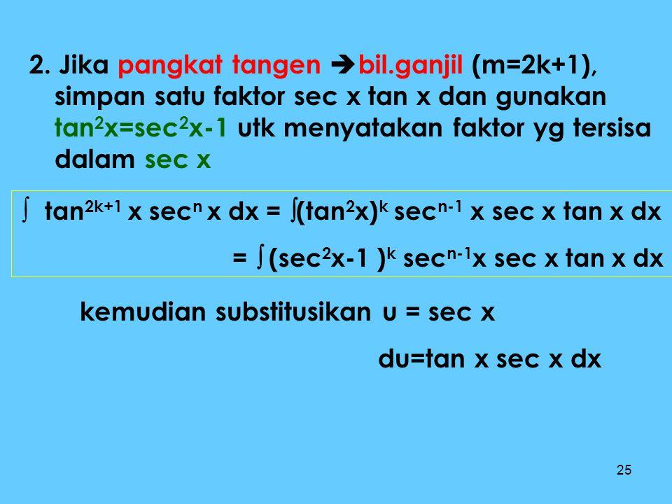 2. Jika pangkat tangen bil.ganjil (m=2k+1),