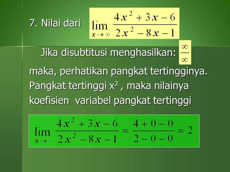 7. Nilai dari Jika disubtitusi menghasilkan: m. maka, perhatikan pangkat tertingginya. Pangkat tertinggi x2 , maka nilainya.