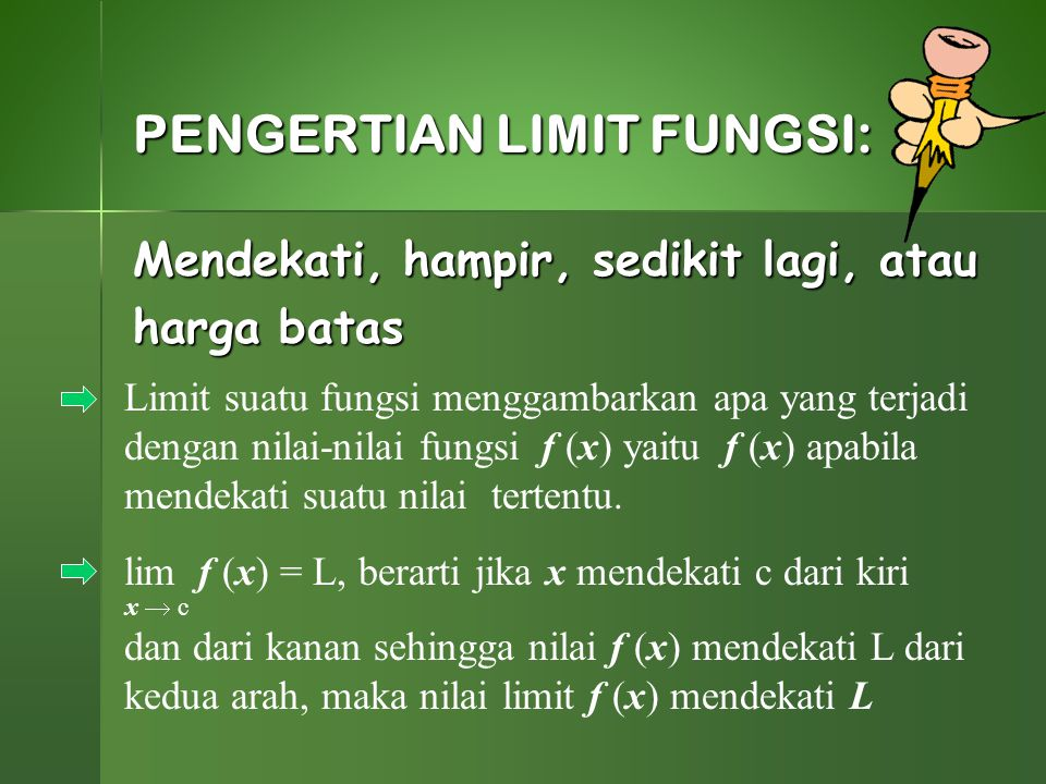PENGERTIAN LIMIT FUNGSI: