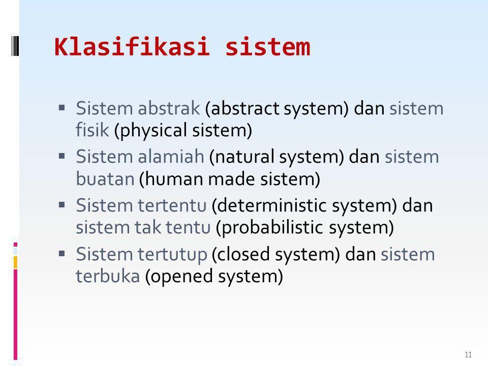 Klasifikasi sistem Sistem abstrak (abstract system) dan sistem fisik (physical sistem)