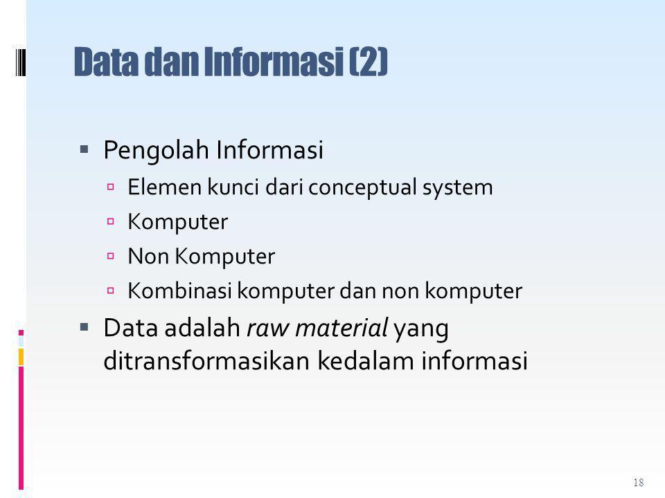 Data dan Informasi (2) Pengolah Informasi