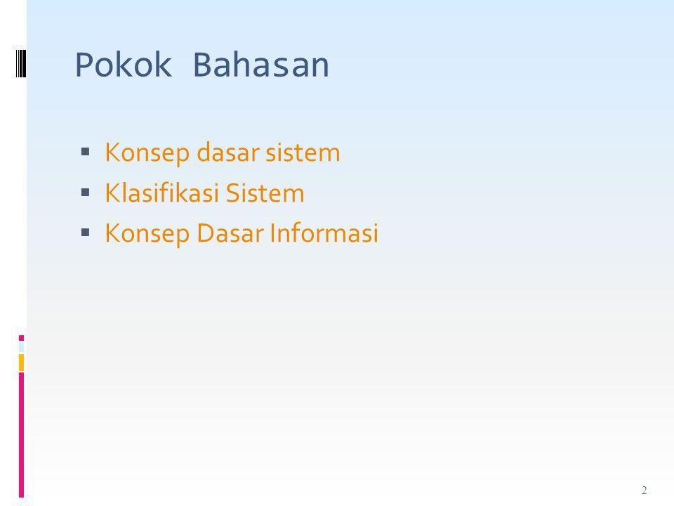 Pokok Bahasan Konsep dasar sistem Klasifikasi Sistem