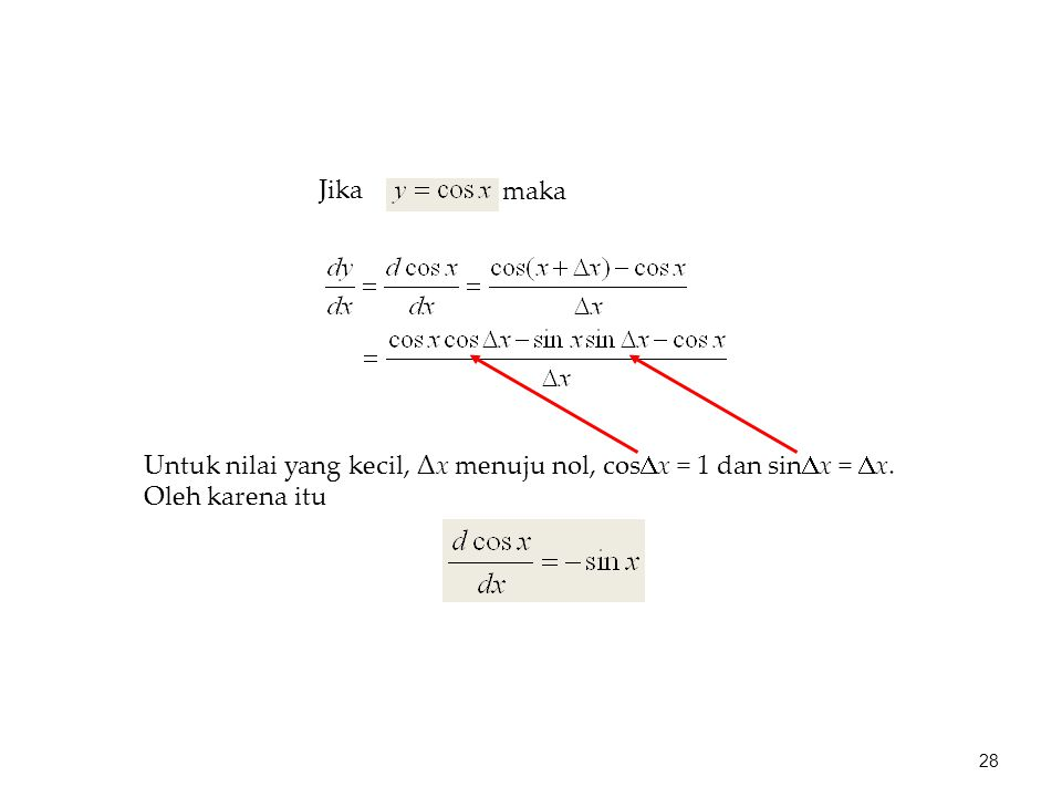 maka Jika Untuk nilai yang kecil, Δx menuju nol, cosx = 1 dan sinx = x. Oleh karena itu