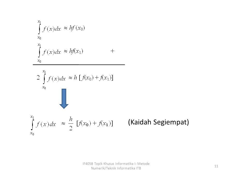 (Kaidah Segiempat) IF4058 Topik Khusus Informatika I: Metode Numerik/Teknik Informatika ITB