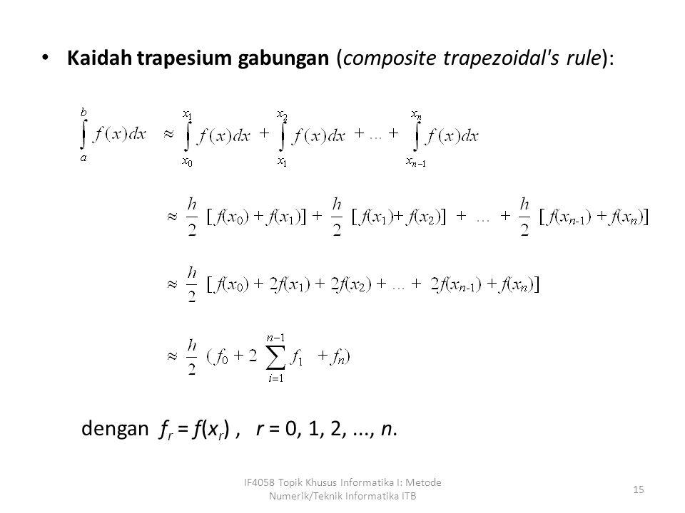Kaidah trapesium gabungan (composite trapezoidal s rule):