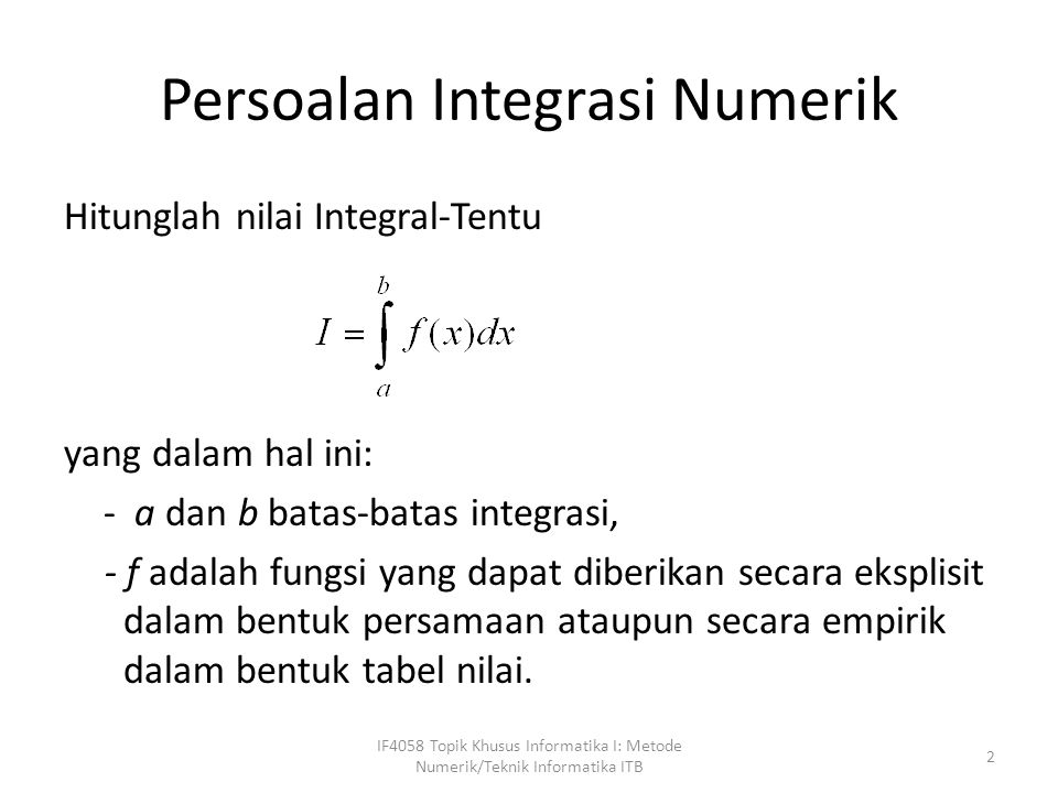 Persoalan Integrasi Numerik