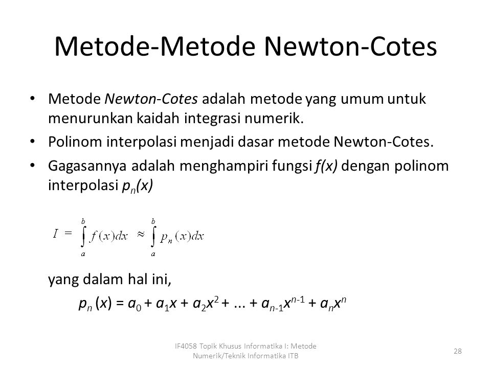 Metode-Metode Newton-Cotes