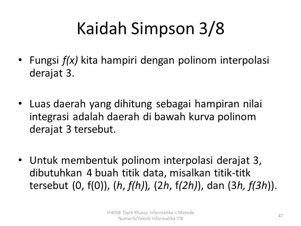 Kaidah Simpson 3/8 Fungsi f(x) kita hampiri dengan polinom interpolasi derajat 3.