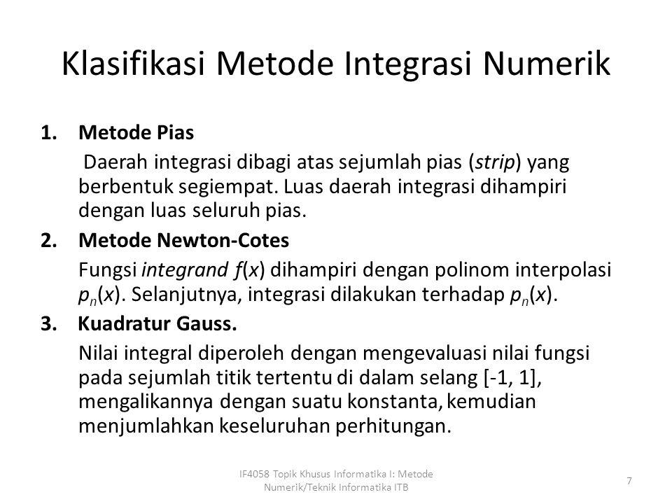Klasifikasi Metode Integrasi Numerik
