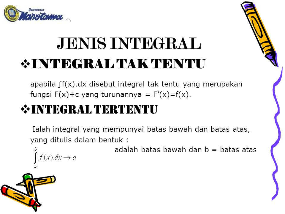 JENIS INTEGRAL INTEGRAL TAK TENTU