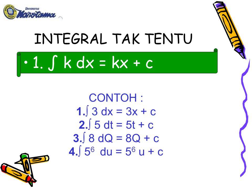 1. ∫ k dx = kx + c INTEGRAL TAK TENTU CONTOH : ∫ 3 dx = 3x + c