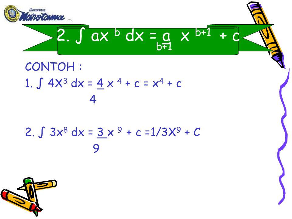 2. ∫ ax b dx = a x b+1 + c b+1 CONTOH :