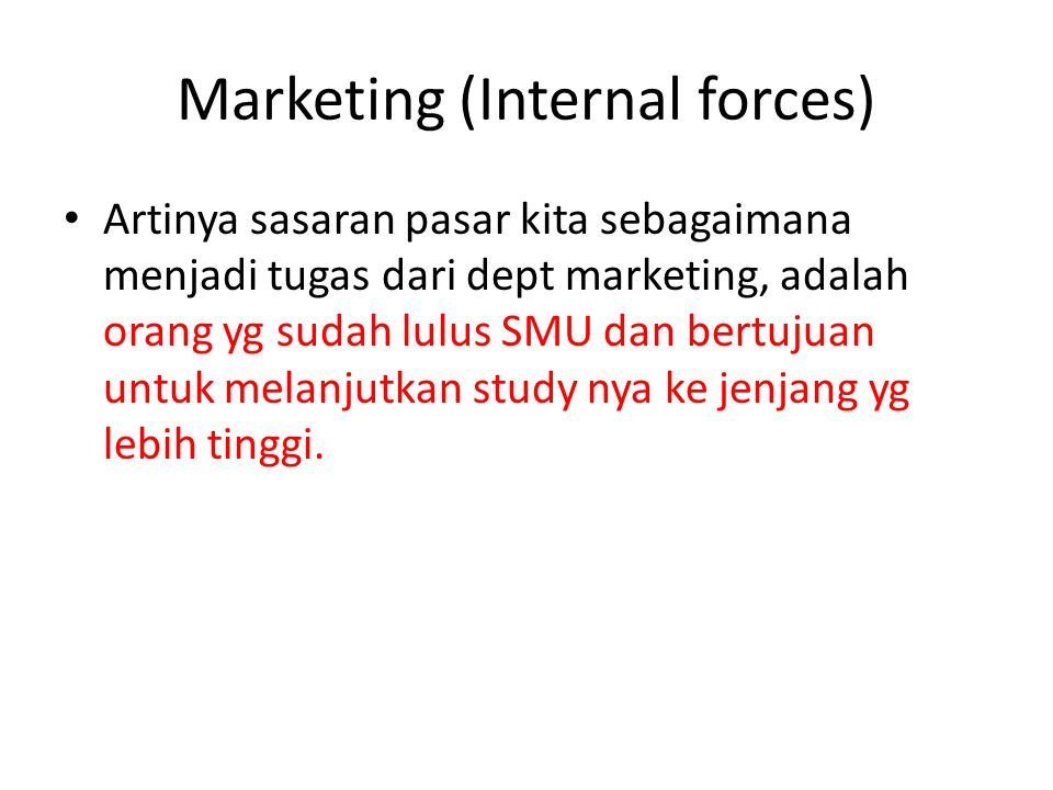 Marketing (Internal forces)