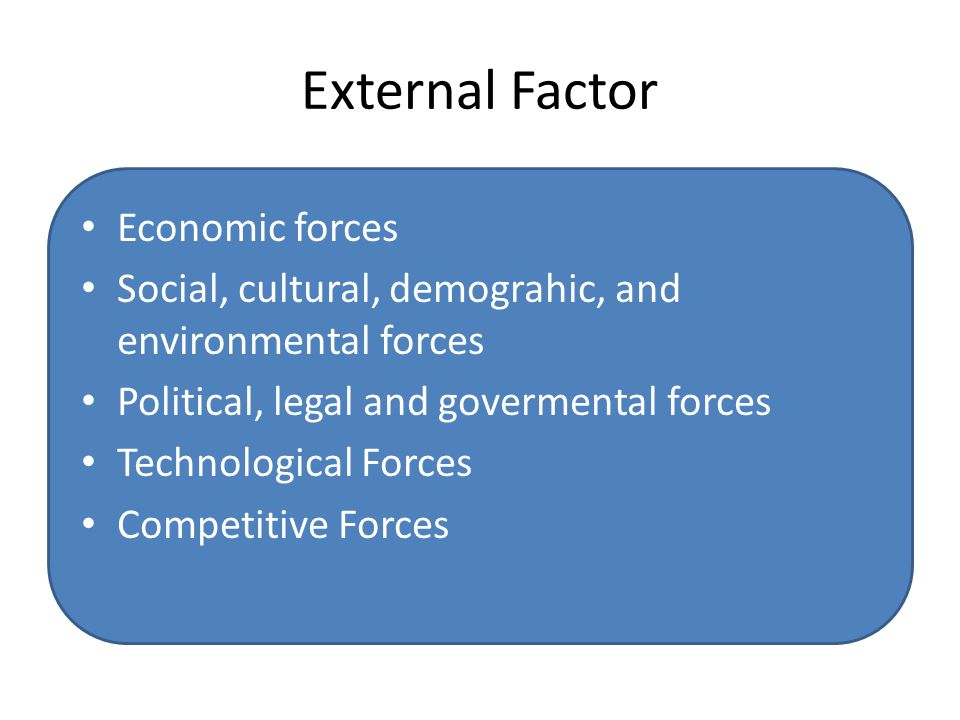 External Factor Economic forces