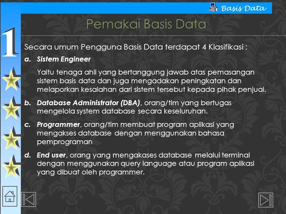 Pemakai Basis Data Secara umum Pengguna Basis Data terdapat 4 Klasifikasi : a. Sistem Engineer.