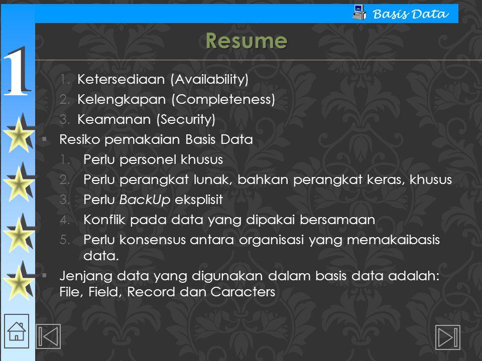 Resume Ketersediaan (Availability) Kelengkapan (Completeness)
