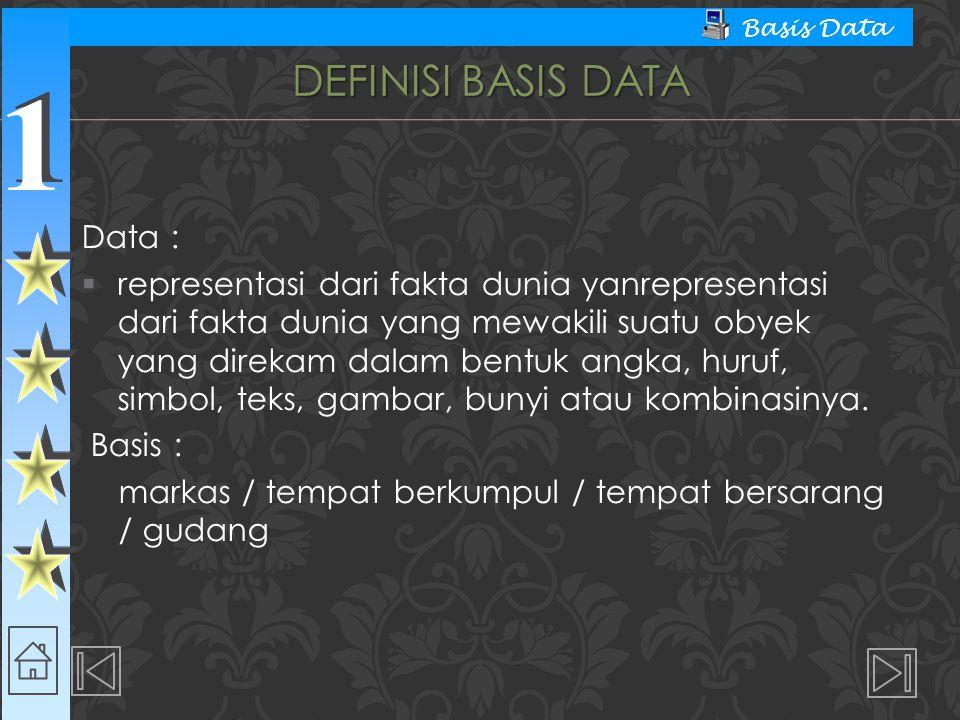 Definisi Basis Data Data :