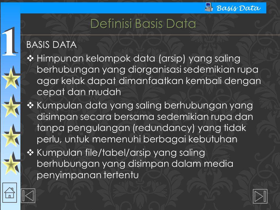Definisi Basis Data BASIS DATA
