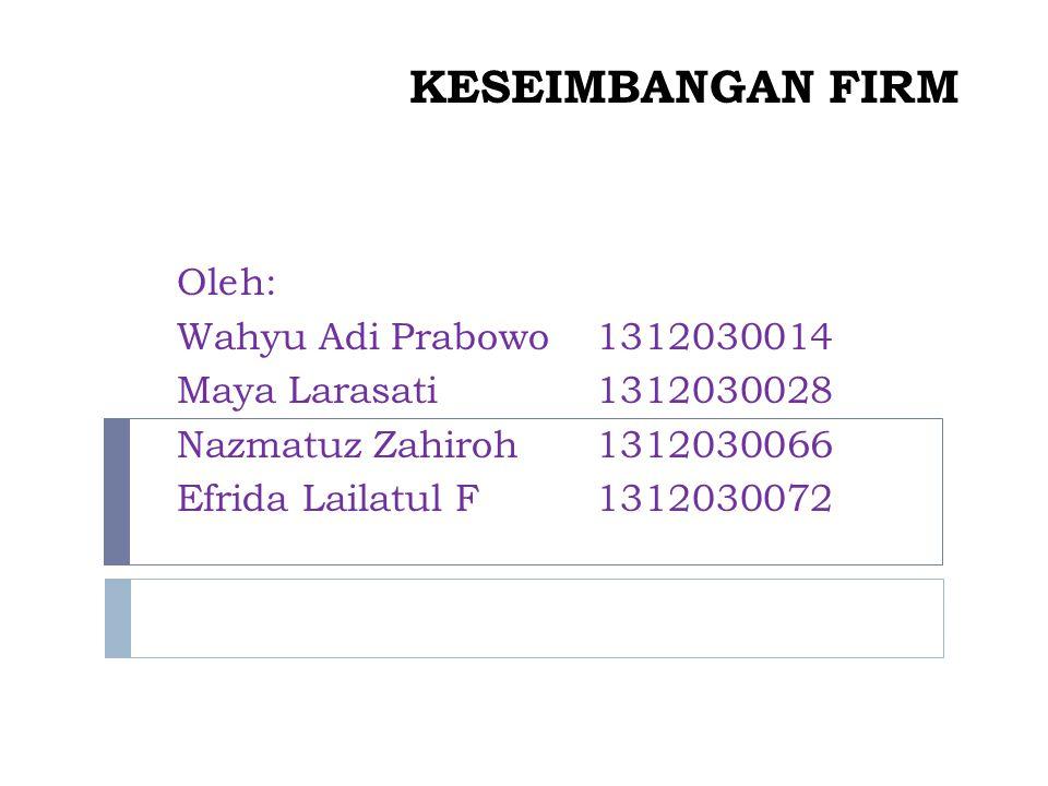 KESEIMBANGAN FIRM Oleh: Wahyu Adi Prabowo 1312030014