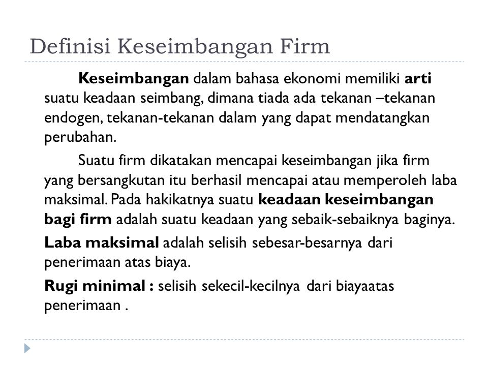 Definisi Keseimbangan Firm