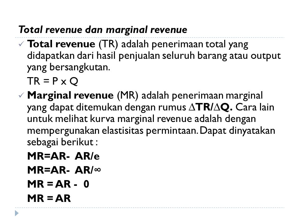Total revenue dan marginal revenue