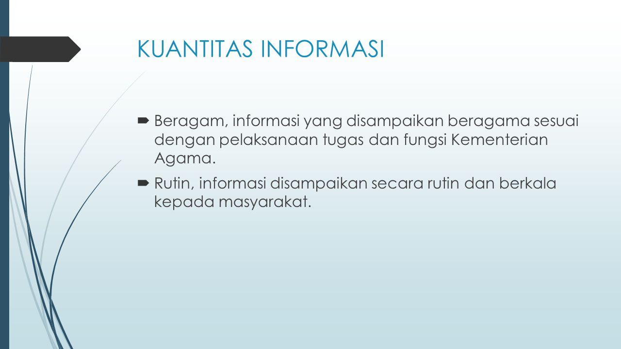 KUANTITAS INFORMASI Beragam, informasi yang disampaikan beragama sesuai dengan pelaksanaan tugas dan fungsi Kementerian Agama.